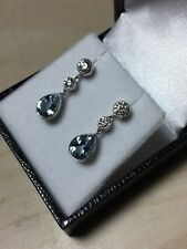 18ct. 750. White Gold. Aquamarine & Diamond Drop/Dangle Earrings