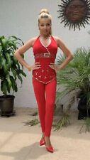 Beaded Dance Top Women Salsa Swing Ballroom Latin Sequince Red US S
