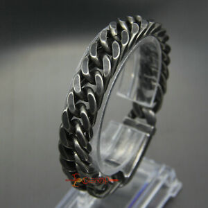 12/15mm Men's Chain Boy's Curb Cuban Link Gunmetal 316L Stainless Steel Bracelet