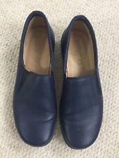 Ladies Hotter Navy Blue Leather Loafer Flat Slip on shoes UK 7 EU 41