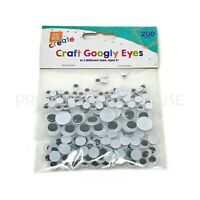 200 Pack Mixed Sizes Googly Eyes Wibbly Wobbly Arts Craft Stick On Moving Pupil