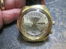 WITTNAUER AUTOMATIC 2002 CALENDAR OVERSIZE STAINLESS BACK Running WRIST Watch