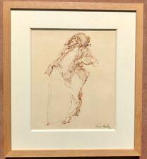 """WEISBUCH-Superbe dessin à l'encre, signé, Polichinelle, """"comoedia dell'arte""""."""