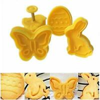 4x 3D Easter Plastic Cookie Cutters Plunger Biscuit Pastry Fondants Baking Molds