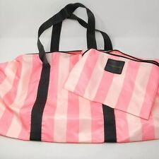 Victoria's Secret Weekender Large Tote Bag & Pouch Pink Striped
