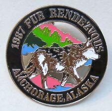 1987 Anchorage Alaska FUR RENDEZVOUS brooch pinback pin WOLF