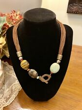 Silpada N1891 Howite, Tigers Eye, Sponge Coral, Brass Necklace Retail $99