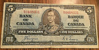 1937 CANADA 5 DOLLARS BANK NOTE - B/S - Coyne / Towers
