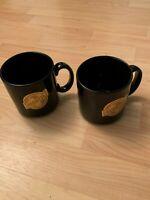 VTG Set of 2 Bechtel Company Black Gold Logo Coffee Mug Cup