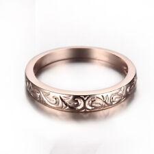 Unisex 10K Rose Gold Pave Setting Band Diamond Engagement Wedding Fine Ring