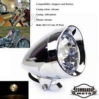 "Chrome Bullet Tri Bar 5.75"" Headlight Visor Headlamp For Harley Dyna Softail 12V"
