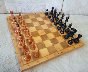 Vintage Soviet Tournament Big Old Chess Set Weighted USSR Board 17.7 inches