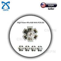 10Pcs 1Watt High Power SMD LED Chip Beads Buld RGB Tri-Color 4Pin Light With PCB