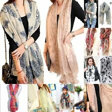AME Fashion Women Soft Voile Cotton Scarf Wrap Silk Chiffon Shawl Stole Scarves