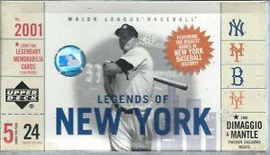 2001 Upper Deck Legends of New York baseball sealed hobby box