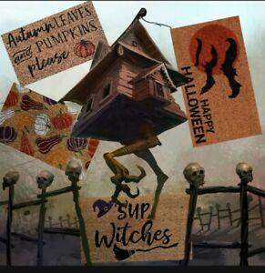 Fall, Autumn, Halloween, Thanksgiving Coir Doormats 30 x 18 Witches, Pumpkins