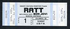 1985 Ratt Bon Jovi Unused Concert Ticket Columbus Georgia 7800 Fahrenheit Tour