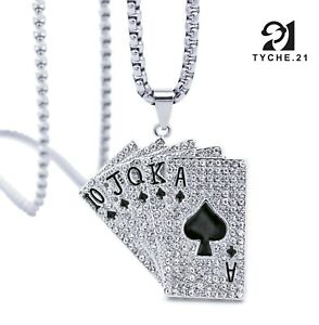 For Mens Poker Card Silver Pendant Necklace Biker Punk Stainless Steel Box Chain