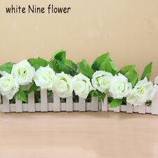 Fashion Artificial Silk Rose Flower Ivy Vine Garland Wedding Party Home Decor White Nine Fllower