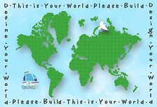 "13""×19"" Inspirational Poster DEFINE YOUR WORLD Lego Art Map EXPLORE Travel Build"