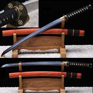 Damascus Folded Steel Japanese Samurai Wakizashi Katana Battle Ready Full TANG