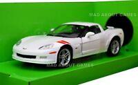CHEVROLET CORVETTE Z06 1:24 Scale Metal Diecast Car Model Die Cast Models White