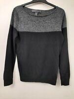 Fenn Wright Manson Grey Black Mix Colour Block Merino Wool Jumper Size M 12 14