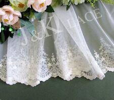 21 cm width Pretty Milky White Embroidery Mesh Lace Trim