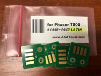 4 Toner Chip for Xerox Phaser 7500DN, 7500N, 7500 Refill (1446 - 1443 LATIN)