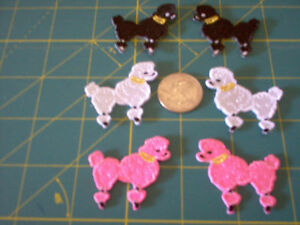 POODLE APPLIQUE 1 1/2 IN WHITE BLACK RED PURPLE PINK
