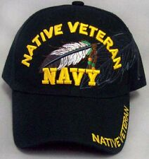 Navy Native Veteran Military Feather Baseball Caps  Embroidered (CapNp487 ^)