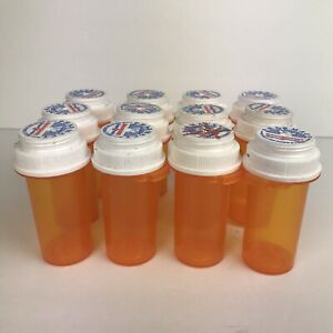 Amber Pill Medicine RX Bottles 8 Dram Lot of 12 Storage Crafts Child Proof Lids