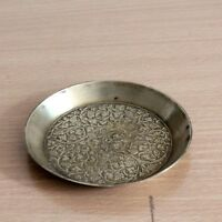 Vintage Beautiful Shape & Hand carved Floral Design Brass Plate/Tray/Trey #03