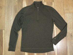 Smartwool Men's Green Merino Wool Long Sleeve 1/4 Zip Baselayer Shirt Sz XL FLAW