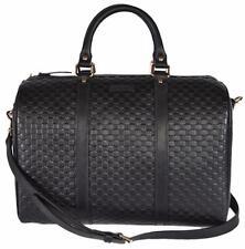 New Gucci Black Leather 449646 Micro GG Guccissima Boston Bag Satchel W/Strap
