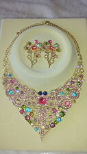 Multi colour Diamante crystal Necklace & earrings set wedding prom new set C