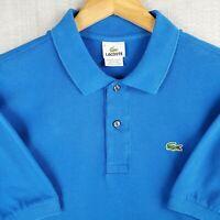 LACOTSE Size 6 Medium Mens 100% Cotton Short Sleeve Polo Shirt Blue Mens Golf