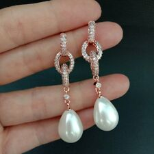 Teardrop White Sea Shell Pearl Rose Gold Plated Cz Pave Post Earrings