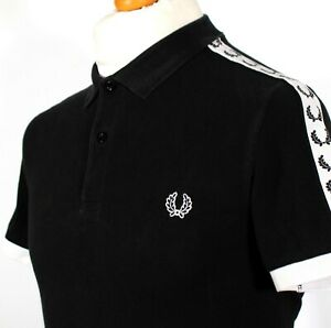 """Fred Perry Polo Shirt Logo Tape - M/40"""" - Black - Mod Ska 60s Casuals Scooter"""