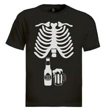 Halloween Easy Costume Skeleton Beer Funny Belly Drinking Party T-shirt Xray M