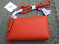 Calvin Klein Leather Crossbody-SMALL-1- BURNT ORANGE- NWT- MSRP:$98