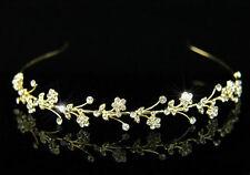 Hochzeit kristall Gold Haarreif Diadem T1209