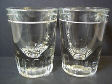 Pair 2 heavy shot glasses white band on clear by Libbey