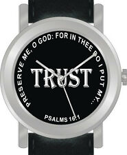 """""""Trust"""" from Psalms 16:1 Has Inspirational Words on the Dial of the Unisex Watch"""