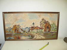 "Vintage Hand Made Stitched Needlepoint 11"" x 23"" - 12"" x 24"" Framed"