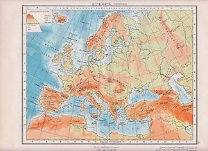 1931 MAP ~ EUROPE PHYSICAL ~ ALPS PYRENEES URAL MOUNTAINS
