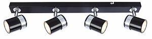 Black and Chrome Interior Lighting Ceiling 4 Way GU10 Straight Bar Light Fitting