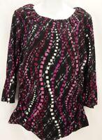 STYLE & CO Petite Blouse Women's Large Black Pink Grey 3/4 Sleeve