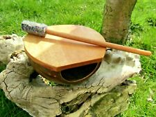 More details for fair trade hand made wooden coconut hand drum with stick