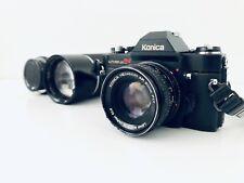 Konica Autoreflex T4 w Hexanon 50m 200m 1:3.5 Auto Tele Panagor Lens Japan